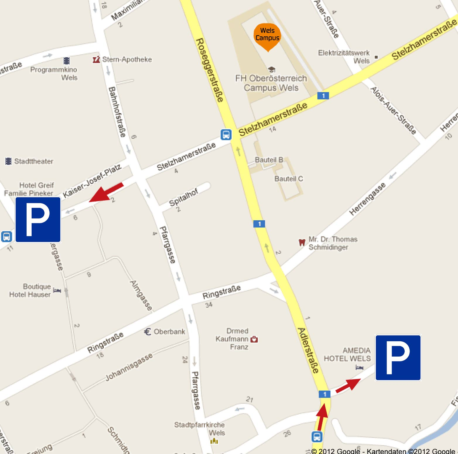 Location-Parken FHOOE CampusWels Parking-Kaiser&Traunpark2 kl